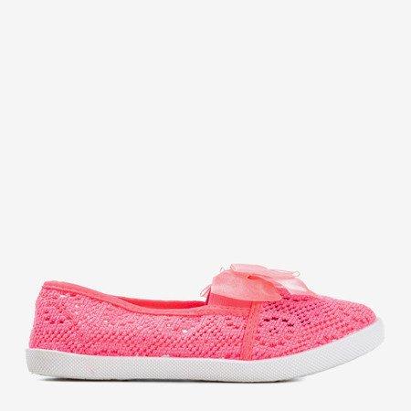 Ажурные слипоны для девочек неоново-розового цвета с бантом Farima - Обувь