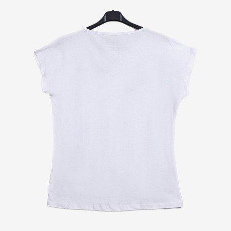 Белая женская футболка с цветным велюровым принтом - Одежда