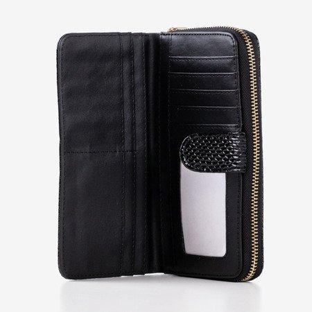 Большой черный кошелек из искусственной кожи со стеганой отделкой - Кошелек