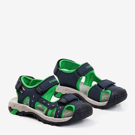 Детские спортивные сандалии темно-синего цвета с зелеными вставками Krifia - Обувь
