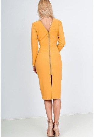 Желтое приталенное платье - Одежда