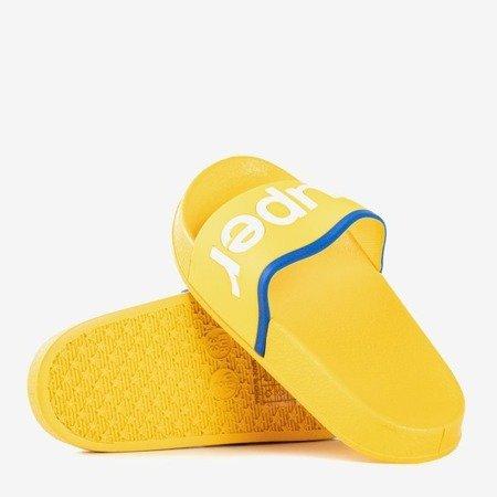 Желтые детские тапочки с надписью Super - Обувь