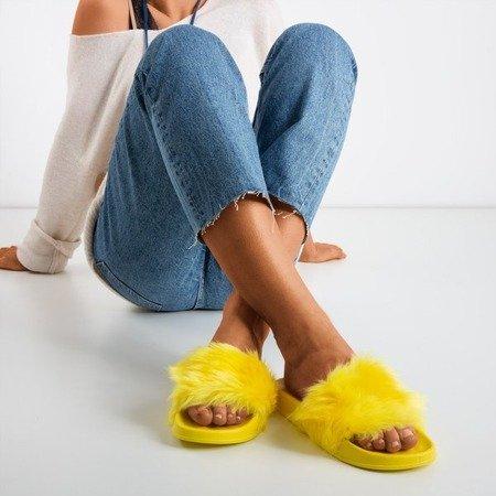 Желтые тапочки с мехом Милли - Обувь