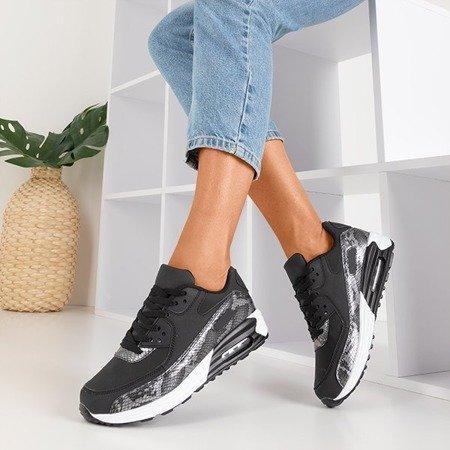 Женская черная спортивная обувь со вставками из серой змеиной кожи Silada - Обувь