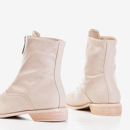 Женские бежевые ботильоны на плоском каблуке Клюня - Обувь