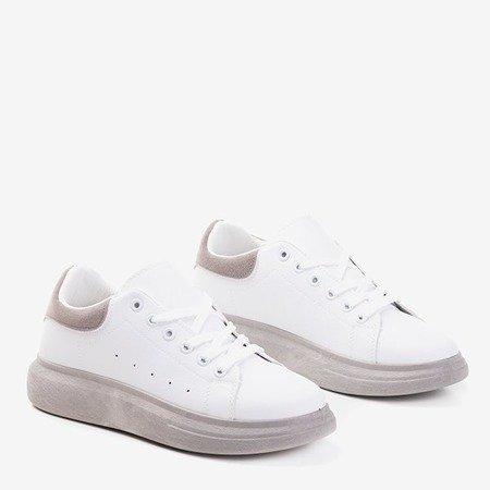 Женские белые спортивные туфли с серыми вставками Gulio - Обувь