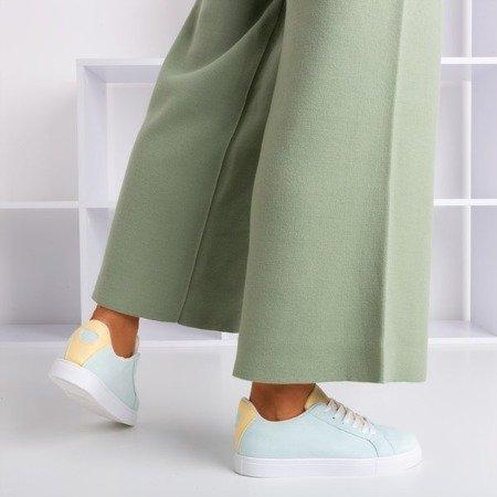 Женские мятные кроссовки с желтой вставкой Barielle - Обувь