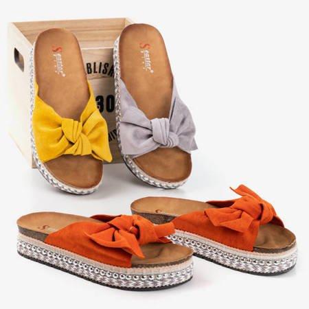 Женские тапочки светло-серого цвета с бантом Kordesa - Обувь