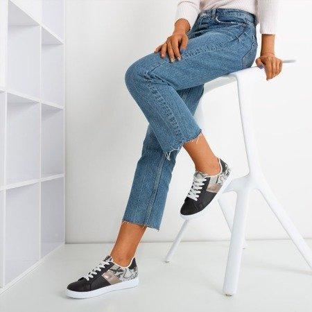 Женские черные кроссовки с животным тиснением Clastie - Обувь