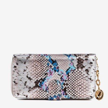Женский кошелек с рисунком из кожи змеи серого цвета - Кошелек