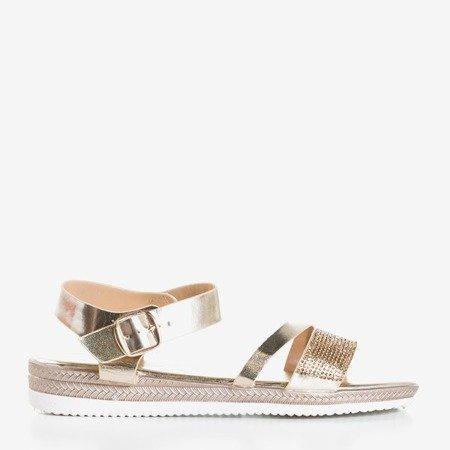 Золотые женские сандалии с фианитами Ido - Обувь