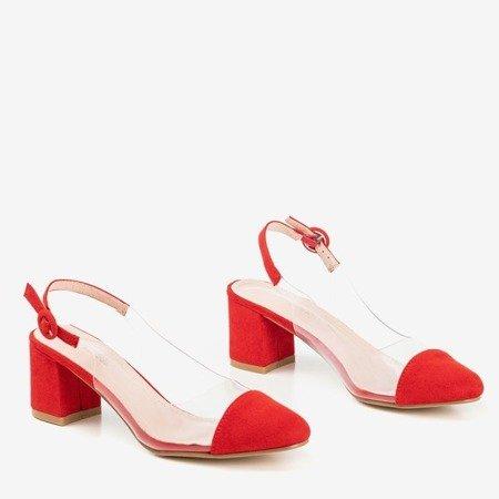 Красные туфли-лодочки на столбе с прозрачной вставкой Evora - Туфли