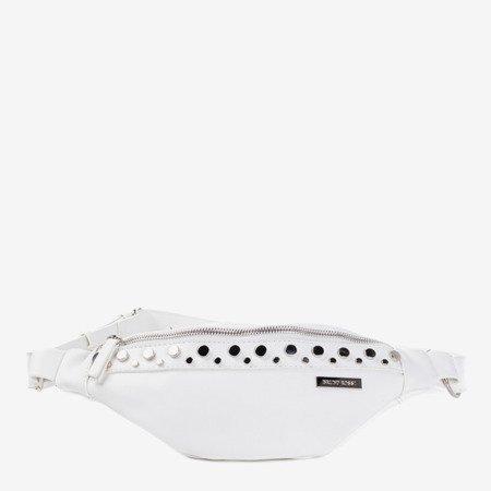 Маленькая сумка для почки белого цвета с серебряными деталями - Сумочки