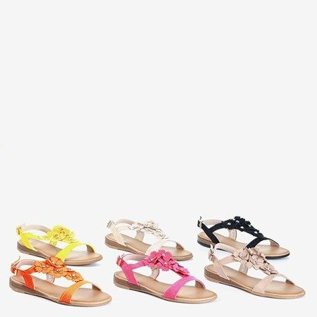 Неоново-желтые женские сандалии с цветами Madlen - Обувь