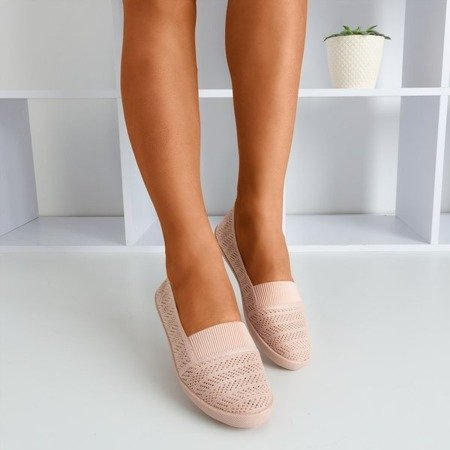 Светло-розовые женские балетки с отделкой из кружева Франциска - Обувь