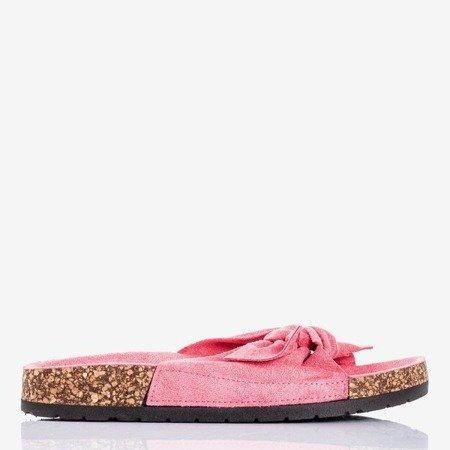 Светло-розовые женские тапочки с бантом «Солнце и веселье» - Обувь