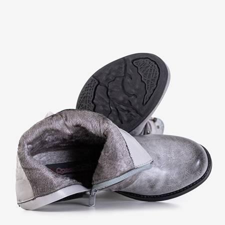 Светло-серые женские сапоги в полоску Adalia - Обувь