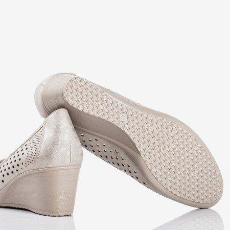 Серебряные туфли на танкетке с ажурной отделкой Polia - Обувь