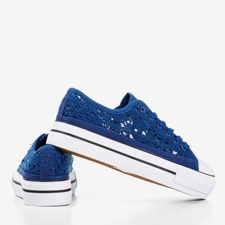 Синие кружевные кроссовки на толстой платформе Satilla - Обувь