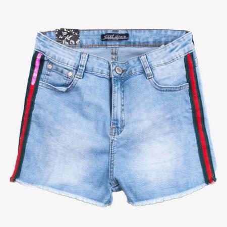 Синие шорты с полосками - Одежда
