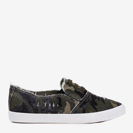 Темно-зеленые женские слипоны Leandra camo - Обувь