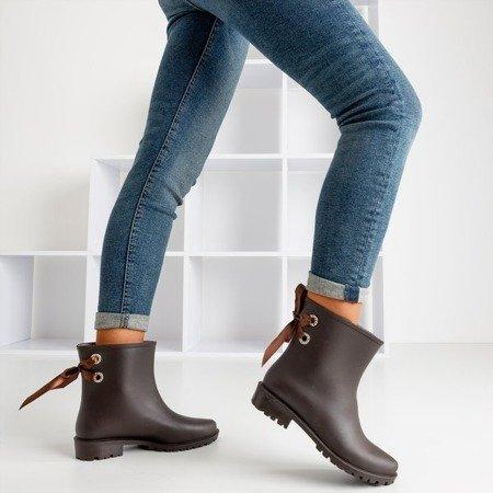 Темно-коричневые матовые женские резиновые сапоги Fanie - Обувь
