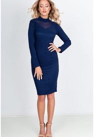 Темно-синее платье миди с прозрачной вставкой - Одежда