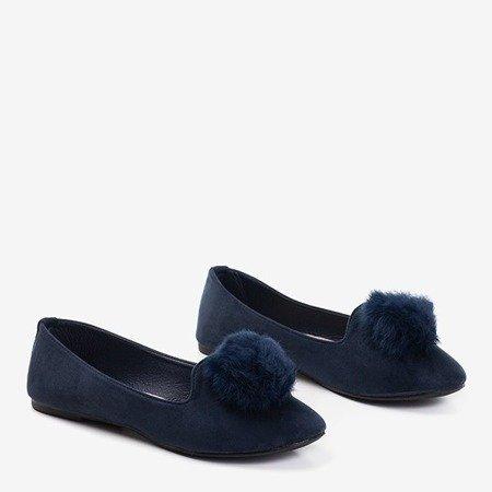 Тёмно-синие балетки с помпонами Культы - Обувь