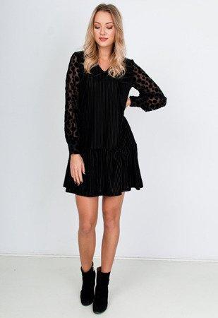 Черное мини-платье с украшениями - Одежда