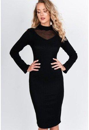 Черное платье-миди со вставкой-иллюзией - Одежда