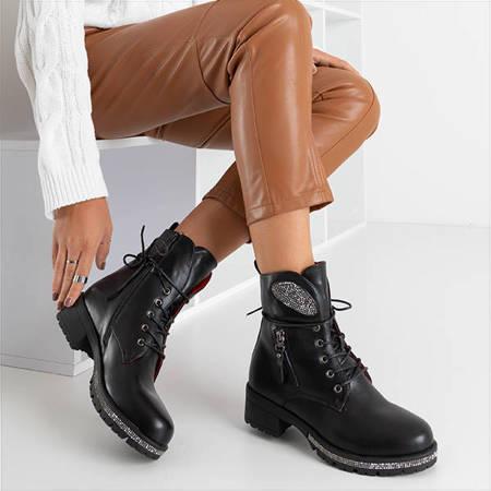 Черные женские ботинки из эко-кожи Exione - Обувь