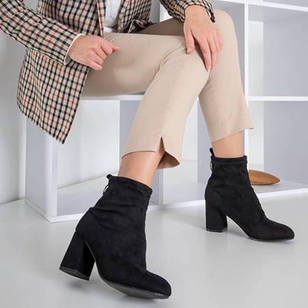 Черные женские сапоги на столбе из эко-замши Витольда - Обувь