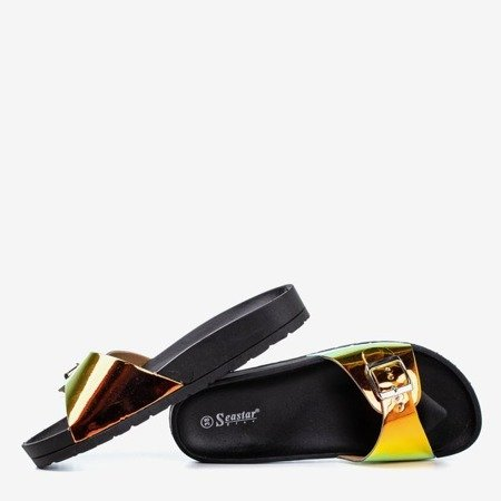 Черные тапочки с голографической отделкой Sabia - Обувь