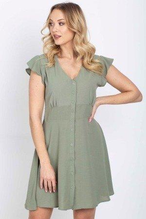 платье цвета хаки на пуговицах - Одежда