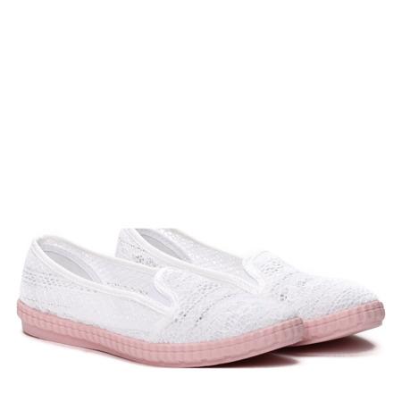 Biało-różowe slip on Alejandra- Obuwie