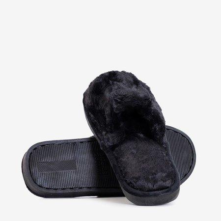 Черные женские тапочки с мехом Wortan - Обувь