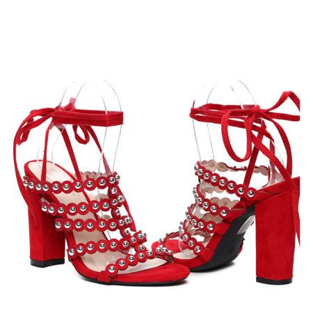 Czerwone sandały na słupku - Obuwie