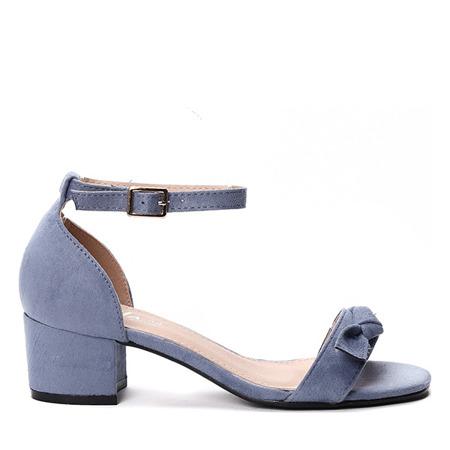Niebieskie sandały na słupku- Obuwie