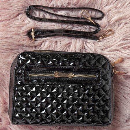 Pikowana torebka na ramię w kolorze czarnym - Torebki
