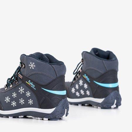 Сапоги женские темно-синие со снежинками Хлопья - Обувь