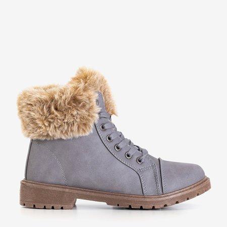 Серые женские сапоги на меховой Зоневке - Обувь