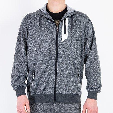 Свитшот мужской темно-серый с орнаментом - Одежда