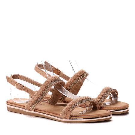 Sandały z cyrkoniami w kolorze camel Zammena - Obuwie