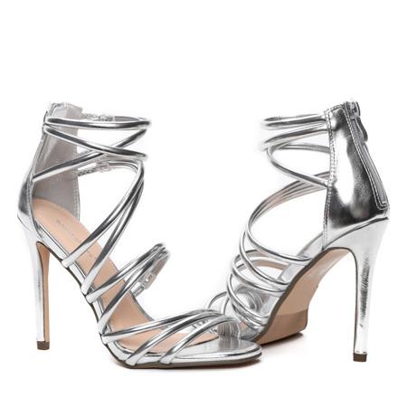 Srebrne sandały na szpilce Blynna - Obuwie
