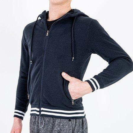 Толстовка мужская теплая темно-синяя в полоску - Одежда