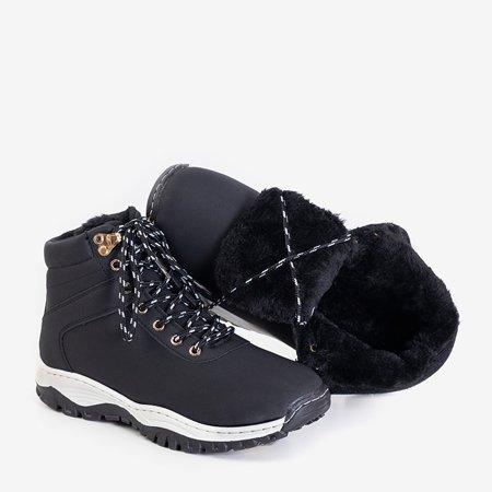 Утепленные женские походные ботинки из экокожи черного цвета Filisa - Обувь