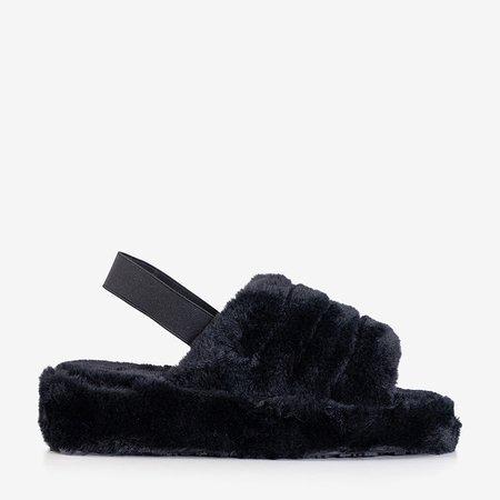 Женские меховые тапочки Fornax Black - Обувь