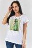 Женская белая футболка с принтом - Одежда