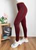 женские леггинсы бордового цвета в полоску - Одежда
