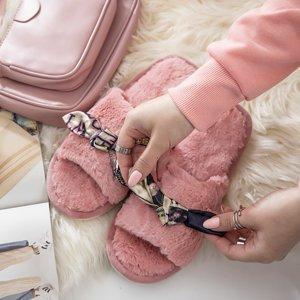 Розовые женские тапочки с мехом Worren - Обувь